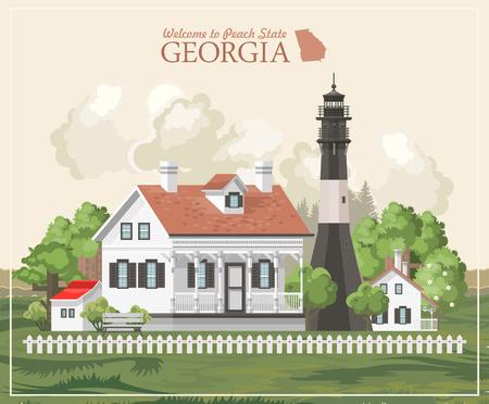 Carte postale de la Géorgie USA. Affiche de vecteur d'état de pêche. Fond de voyage dans un style plat. Vecteurs
