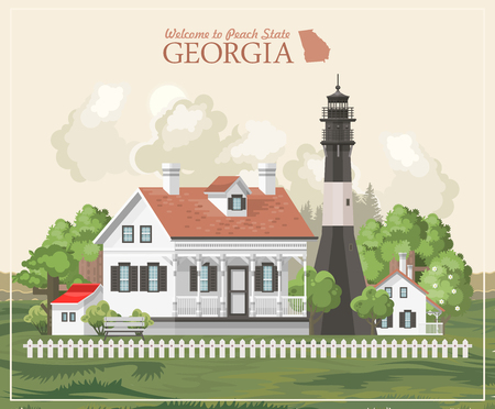 Georgia USA postcard. Peach state vector poster. Travel background in flat style. Zdjęcie Seryjne - 104267781