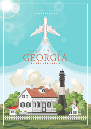 Georgia USA postcard. Peach state vector poster. Travel background in flat style. Imagens - 104267784