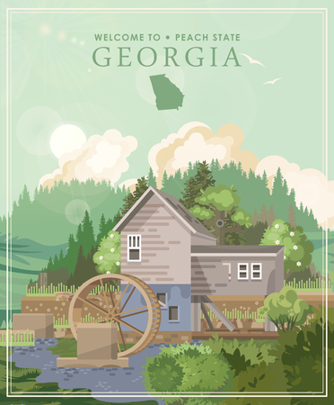 Georgia USA postcard. Peach state vector poster. Travel background in flat style. 免版税图像 - 104267785