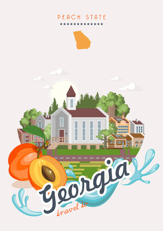 Georgia USA postcard. Peach state vector poster. Travel background in flat style. Stock fotó - 104267786
