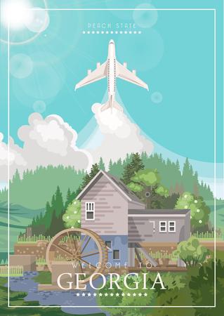 Cartolina di Georgia USA. Manifesto di vettore dello stato di pesca. Sfondo di viaggio in stile piatto. Vettoriali