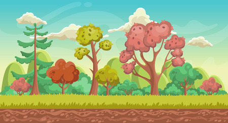 Vector game background. Landscape orientation. Panorama with forest. Illustration