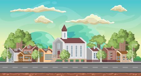 Fondo de juego de vector. Orientación horizontal. Panorama con ciudad colorida.