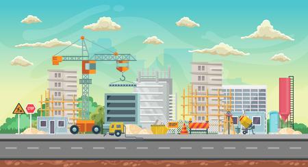 Fondo de juego de vector. Orientación horizontal. Panorama con construcción Ilustración de vector