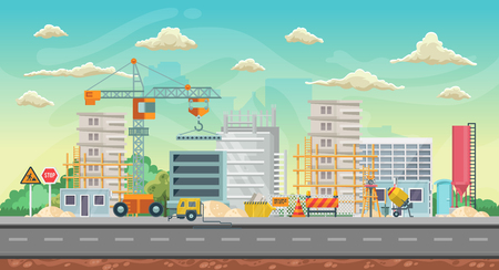 Vector game background. Landscape orientation. Panorama with construction Vettoriali
