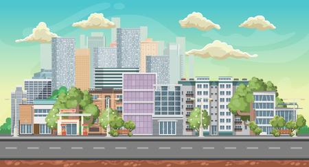 Vector game achtergrond. Landschap oriëntatie. Panorama met kleurrijke stad.
