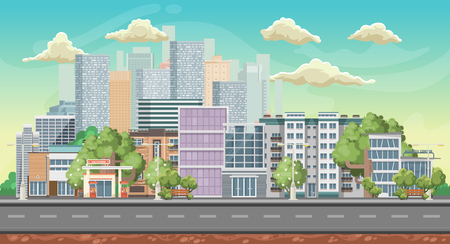 Vector game background. Landscape orientation. Panorama with colorful city. Standard-Bild - 105149905