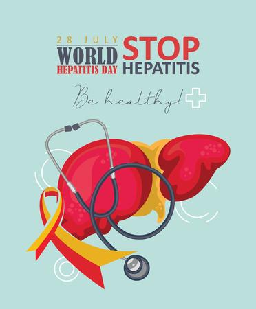 Affiche de vecteur de la journée mondiale de l'hépatite au design plat moderne sur fond blanc. 28 juillet Vecteurs