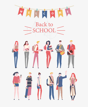 Schoolgirls and schoolboys with books, backpacks and school bags. Back to school vector poster in flat style. Happy and smiling teenagers. Illustration