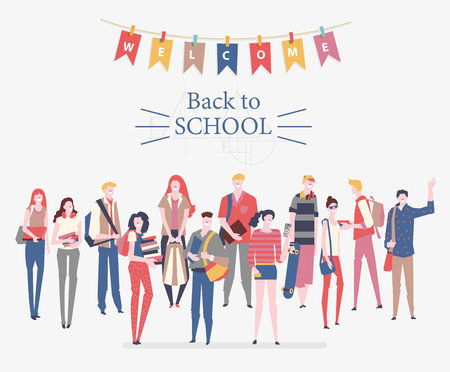 Schoolgirls and schoolboys with books, backpacks and school bags. Back to school vector poster in flat style. Happy and smiling teenagers.