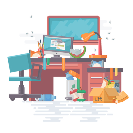 Knoeiwerkkantoor met rotzooi en moderne gadgets, computer, pc, bestanden, bord, tafel, stoel. Moderne platte vector stijl. Plaats met veel afval en strooisel met prullenbak.