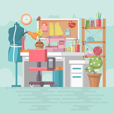 Workplace seamstresses in modern flat design