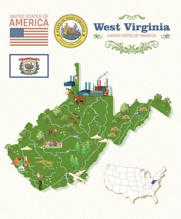 Carte postale de voyage en Virginie-Occidentale. Affiche colorée USA