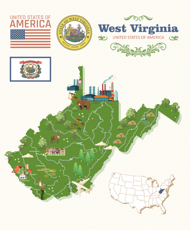 West Virginia travel postcard. USA colorful poster Ilustrace