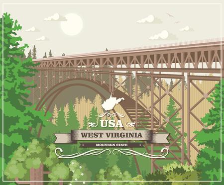 Cartolina di viaggio della Virginia dell'Ovest. Poster colorato USA