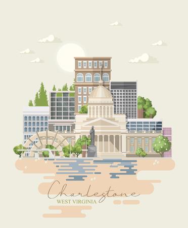 West Virginia travel postcard. USA colorful poster Illustration