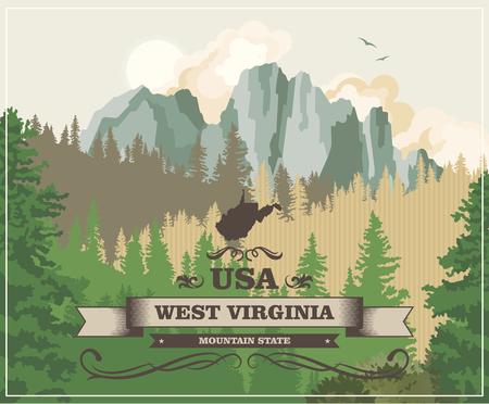 Carte postale de voyage en Virginie occidentale. Affiche colorée USA