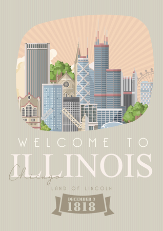 Illinois vector postcard. US state. United States of America. Иллюстрация