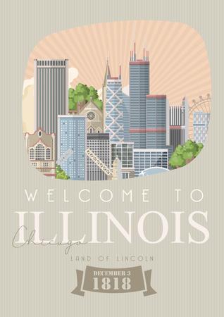 Illinois vector postcard. US state. United States of America. Illustration