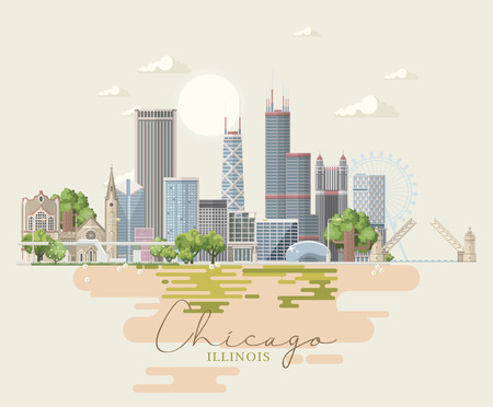 Illinois vector postcard. US state. United States of America. Ilustrace