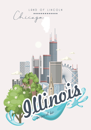 Illinois vector postcard. US state. United States of America. Illustration