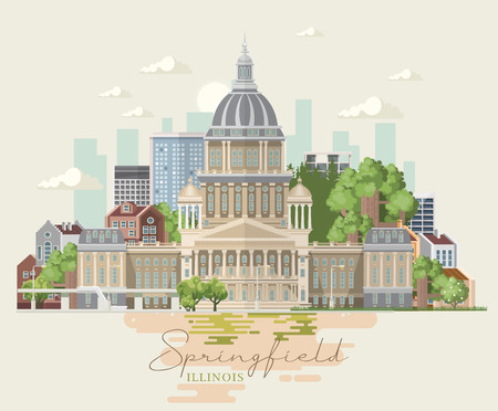 Illinois vector postcard. US state. United States of America.  イラスト・ベクター素材