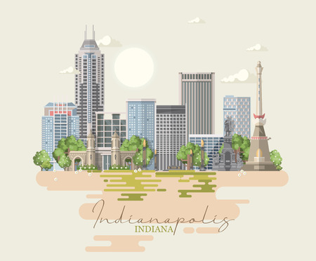 Indiana state. United States of America. Postcard from Indianapolis. Travel vector Stock Vector - 110519486