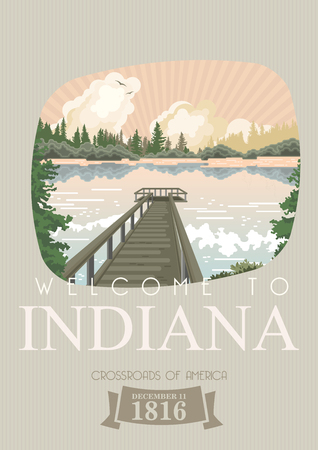 Indiana state. United States of America. Postcard from Indianapolis. Travel vector Stock Vector - 110519487
