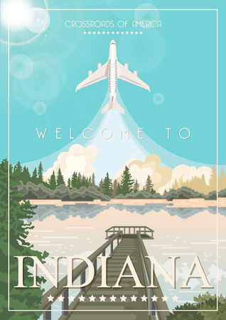Indiana state. United States of America. Postcard from Indianapolis. Travel vector Stock Vector - 110519531