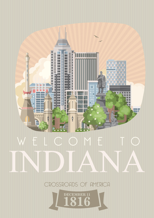 Indiana state. United States of America. Postcard from Indianapolis. Travel vector Stock Vector - 110519534