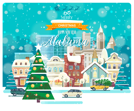 Merry Christmas and Happy New Year in Alabama. Greeting festive card from the USA. Winter snowing city with cute cozy houses and snowflakes.