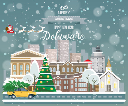 Merry Christmas and Happy New Year in Delaware. Greeting festive card from the USA. Winter snowing city with cute cozy houses and snowflakes.
