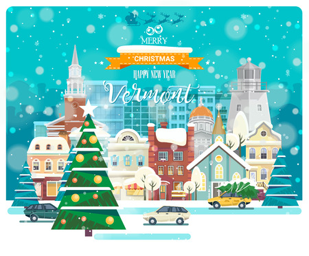 Merry Christmas and Happy New Year in Vermont. Greeting festive card from the USA. Winter snowing city with cute cozy houses and snowflakes. Illustration