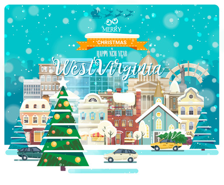 Merry Christmas and Happy New Year in West Virginia. Greeting festive card from the USA. Winter snowing city with cute cozy houses and snowflakes.
