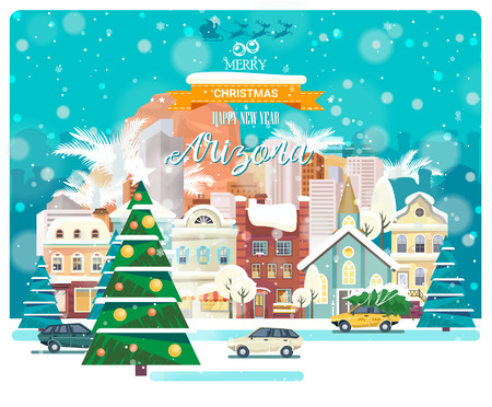 Merry Christmas and Happy New Year in Arizona. Greeting festive card from the USA. Winter snowing city with cute cozy houses and snowflakes.