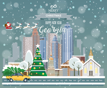 Merry Christmas and Happy New Year in Georgia. Greeting festive card from the USA. Winter snowing city with cute cozy houses and snowflakes. Illustration
