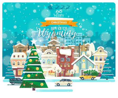 Merry Christmas and Happy New Year in Wyoming. Greeting festive card from the USA. Winter snowing city with cute cozy houses and snowflakes. Illustration