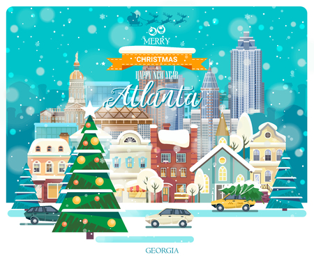 Merry Christmas and Happy New Year in Atlanta. Greeting festive card from the USA. Winter snowing city with cute cozy houses and snowflakes. Illustration