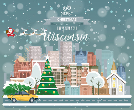 Merry Christmas and Happy New Year in Wisconsin. Greeting festive card from the USA. Winter snowing city with cute cozy houses and snowflakes.