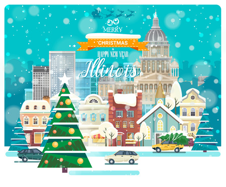 Merry Christmas and Happy New Year in Illinois. Greeting festive card from the USA. Winter snowing city with cute cozy houses and snowflakes. Иллюстрация