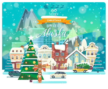 Merry Christmas and Happy New Year in Alaska. Greeting festive card from the USA. Winter snowing city with cute cozy houses and snowflakes.