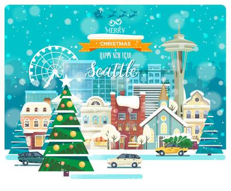 Merry Christmas and Happy New Year in Seattle. Greeting festive card from the USA. Winter snowing city with cute cozy houses and snowflakes.
