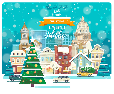 Merry Christmas and Happy New Year in Idaho. Greeting festive card from the USA. Winter snowing city with cute cozy houses and snowflakes. Illustration