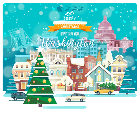 Merry Christmas and Happy New Year in Washington DC. Greeting festive card from the USA. Winter snowing city with cute cozy houses and snowflakes.
