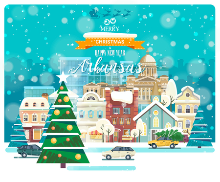 Merry Christmas and Happy New Year in Arkansas. Greeting festive card from the USA. Winter snowing city with cute cozy houses and snowflakes.
