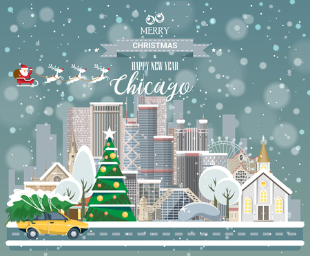 Merry Christmas and Happy New Year in Chicago. Greeting festive card from the USA. Winter snowing city with cute cozy houses and snowflakes.