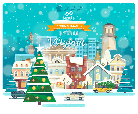 Merry Christmas and Happy New Year in Virginia. Greeting festive card from the USA. Winter snowing city with cute cozy houses and snowflakes.
