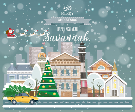 Buon Natale e felice anno nuovo a Savannah. Biglietto di auguri festivo dagli Stati Uniti. Città innevata d'inverno con graziose case accoglienti e fiocchi di neve.