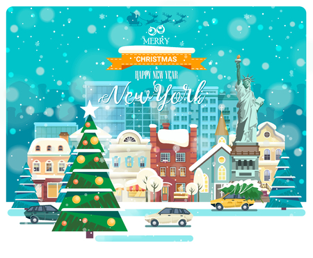 Merry Christmas and Happy New Year in New York. Greeting festive card from the USA. Winter snowing city with cute cozy houses and snowflakes.